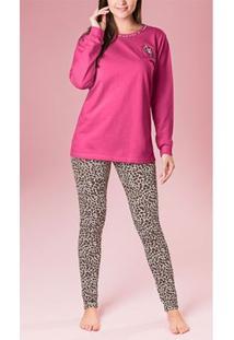 Pijama Manga Longa Pink E Onça Laibel Animal Print G