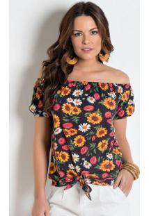 Blusa Ciganinha Com Amarração Floral
