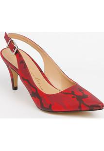 Sapato Chanel Em Couro Com Fivela & Ajuste - Vermelho & Luiza Barcelos