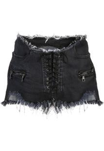 Unravel Project Short Jeans Destroyed - Black