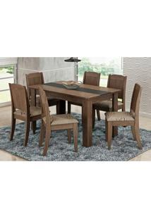 Mesa Para Sala De Jantar Com 6 Cadeiras Bárbara Marrocos/Café - Cimol Móveis