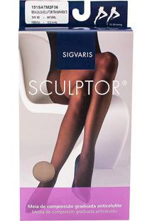 Meia Calça Anticelulite Sigvaris Sculptor 15-20Mmhg M (Tamanho Médio) Longo (M2) Cor Natural Ponteira Fechada