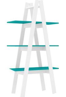 Estante Escada- Branca & Turquesa- 144,6X77X33Cmmovel Bento
