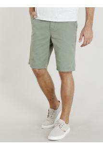 Bermuda De Sarja Masculina Com Cinto Trançado Verde