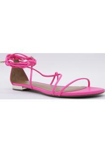 Sandália Rasteira Com Amarração - Pink & Prateadacecconello