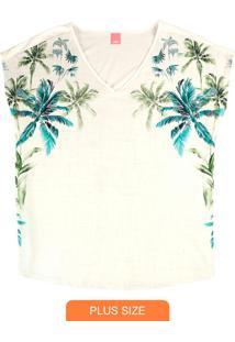 Blusa Off White Tropical Em Malha Liganete