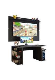 Mesa Para Computador Gamer E Painel Tv Madesa Preto Preto