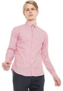 Camisa Calvin Klein Slim Listras Vermelha/Branca