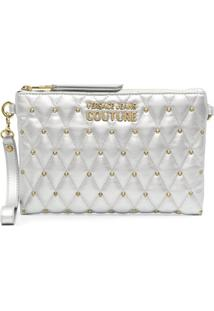 Versace Jeans Couture Metallic-Tone Studded Clutch Bag - Cinza