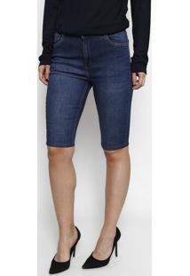 Bermuda Jeans Com Pespontos - Azul - Dudalinadudalina