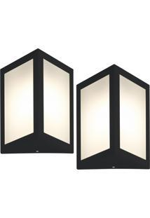 Arandela Triangular Preto Kit Com 2 Casah - Preto - Dafiti