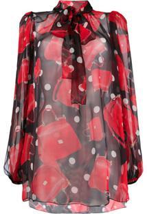 Dolce & Gabbana Blusa De Seda Estampada - Vermelho
