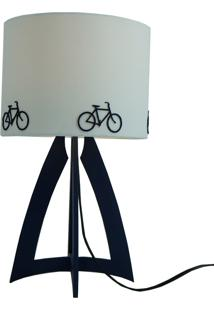 Abajur Base Madeira Azul Marinho E Cúpula Branca Bicicletas