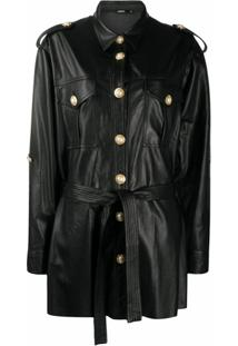 Amen Pearl-Embellished Faux-Leather Jacket - Preto
