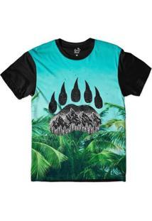 Camiseta Long Beach Pegada De Urso Palmeira Sublimada Masculina - Masculino-Azul