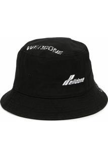 We11Done Chapéu Bucket Com Estampa De Logo - Preto
