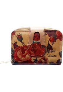 Carteira Feminina Maria Verã´Nica Estampada Com Flores - Vermelho - Feminino - Dafiti