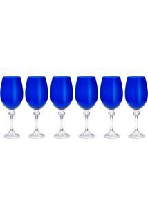 Jogo De Taças Cristal Bohemia Elisa Cobalto 6 Unidades Azul 450Ml