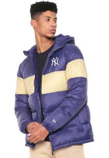 Jaqueta Puffer New Era New York Yankees Azul/Amarela