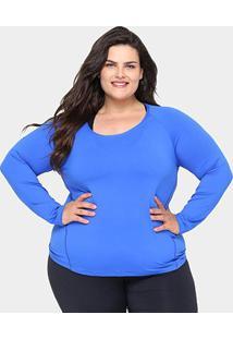 Camiseta Plus Size Gonew Manga Longa Feminina - Feminino-Azul