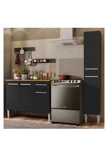 Cozinha Compacta Madesa Emilly Silver Com Balcão E Paneleiro - Rustic/Preto Cor:Rustic/Preto