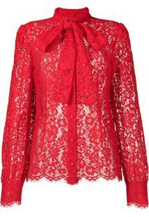 Dolce & Gabbana Blusa Com Laço Na Gola - Vermelho