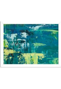 Quadro Decorativo Abstrato Moderno Azul Pincel Verde Branco - Grande
