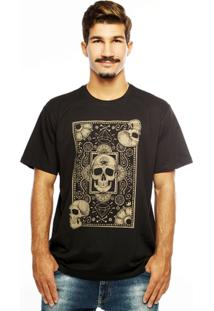 Camiseta Hardivision Cards Of Skull Manga Curta - Masculino-Preto