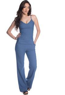 Macacão Pkd Longo Jeans Escuro Azul