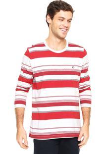 Camiseta Polo Play Listrada Off-White/Vermelho