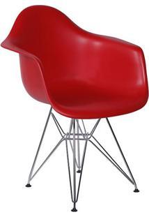 Cadeira Eiffel Plástico Com Braço Base Cromada - Vermelho