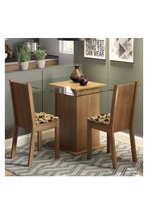 Conjunto Sala De Jantar Madesa Clei Mesa Tampo De Vidro Com 2 Cadeiras Marrom