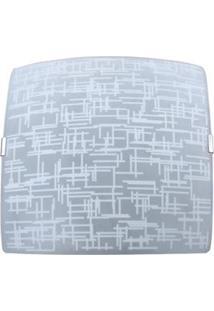 Plafon Attena Sobrepor Quadrado Textura 38 Cm Em Vidro - Branco
