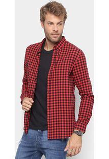 Camisa Xadrez Foxton Manga Longa Flanela Masculina - Masculino-Vermelho