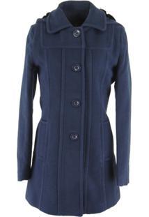 428a77c75 ... Casaco Longo Berlim Em Lã Uruguaia Premium Com Capuz Removível Em Lã -  Feminino-Azul