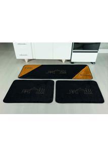 Tapete Antiderrapante Kit Cozinha 3 Peças Gourmet Preto