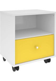 Gaveteiro Móveis Bechara Mb3014 Branco E Amarelo