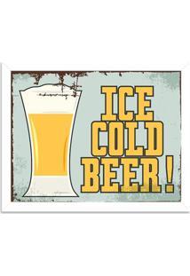 Quadro Decorativo Retrô Ice Cold Beer Branco - Médio