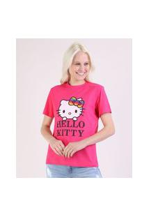 Blusa Feminina Pride Hello Kitty Manga Curta Decote Redondo Pink