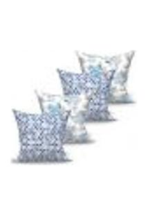 Conjunto De Capas De Almofadas Com 4 Peças Laguna Triângulo Azul 60X60 Cm