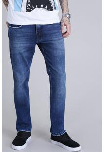 Calça Jeans Masculina Reta Azul Escuro