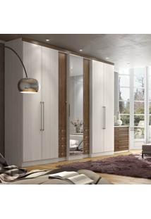 Guarda Roupa Thb Absolut Plus Glass 7 Portas Teka/Carvalho C/ Espelho