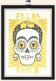 Quadro Caixa 33X43 Cm (Com Led) Lojaria E Nerderia. Frida Caveira Amarelo Preto