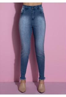 Calça Com Termocolantes Nas Laterais Jeans