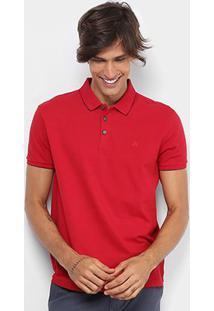 Camisa Polo Jab Piquet Friso Masculina - Masculino-Vermelho