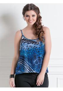Blusa De Alça Animal Print Azul