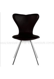 Cadeira Jacobsen Cromada Corino Preto