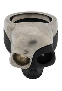 Alexander Mcqueen Anel Skull Charm - Prateado