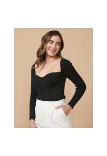 Amaro Feminino Blusa De Tricot Com Decote Coração, Preto