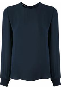 Emporio Armani Blusa Com Abotoamento Posterior - Azul